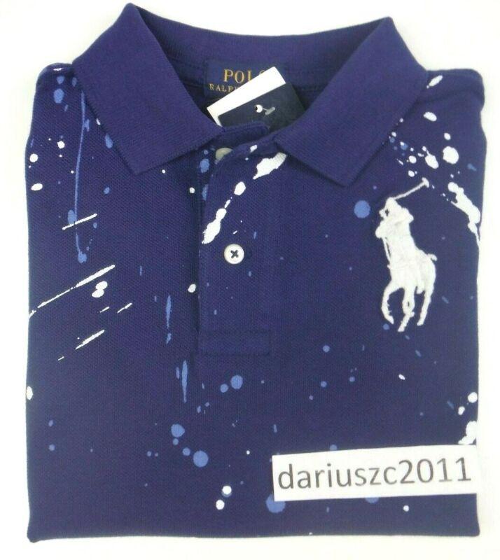 Polo Ralph Lauren Boy's Polo Paint Splatter Navy Blue Shirt Size 7