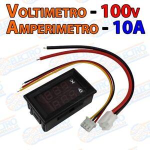 Voltimetro-100v-ROJO-Amperimetro-10A-AZUL-Display-panel-LED-Arduino-Electron