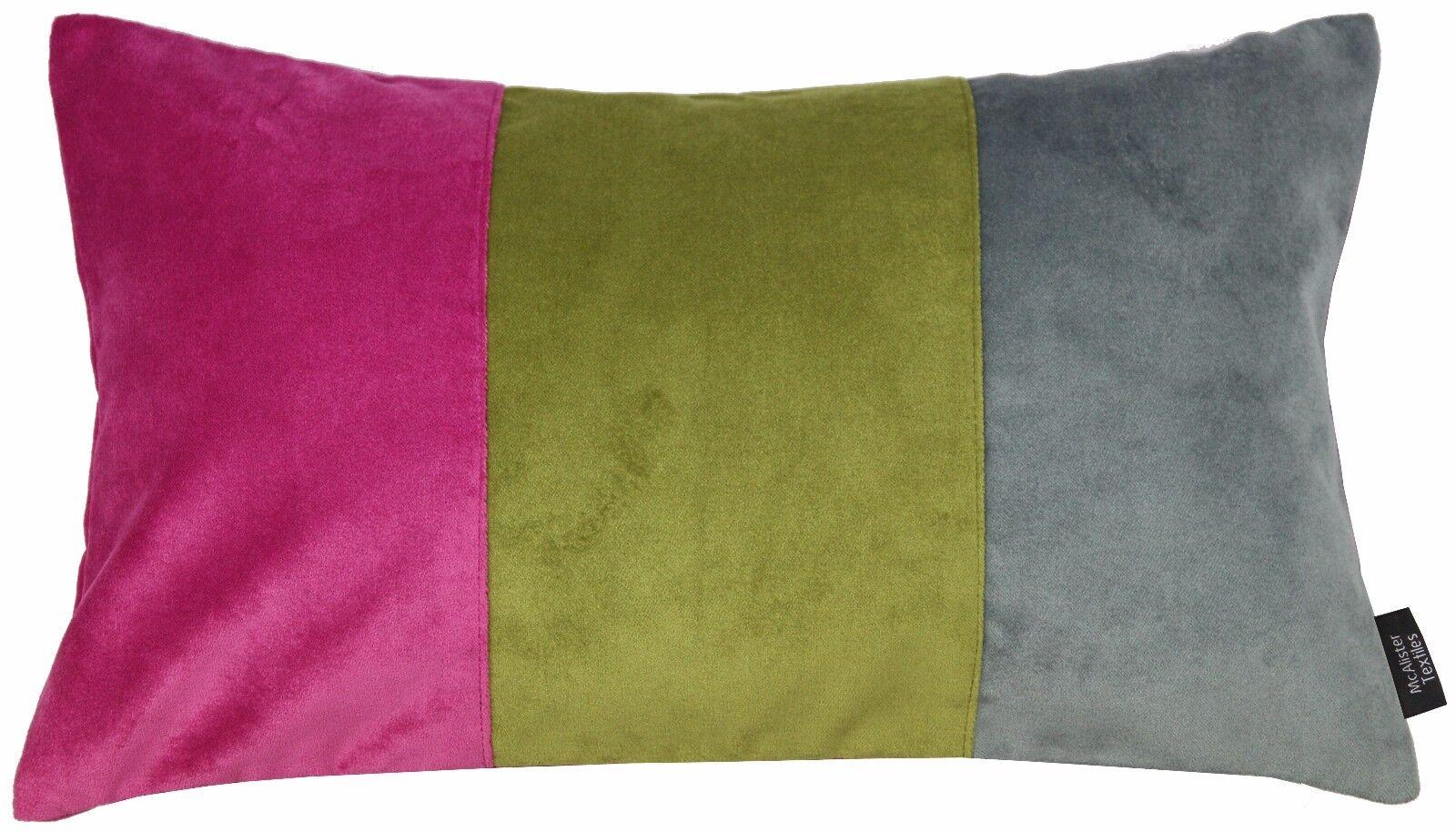 McAlister in tessile 3 ColoreeeE MATT in McAlister velluto rosa, verde & Grigio Boudoir Cuscino 0d3592