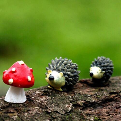 3Pcs//Set Artificial Mini Hedgehog With Red Dot Mushroom Fairy Garden Gnome