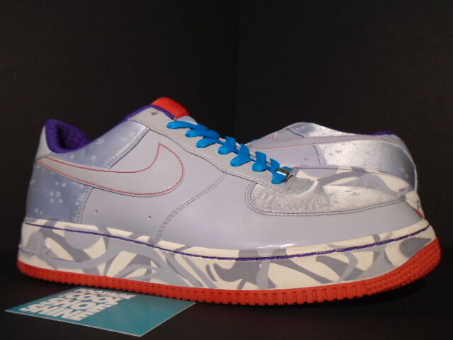 2007 Nike Air Force 1 Premium '07 BLUE DENIM PURPLE ATOM RED WHITE 12 10.5