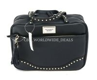 Victoria's Secret Black Leather W/ Studs Hanging Travel Case Cosmetic Travel Bag
