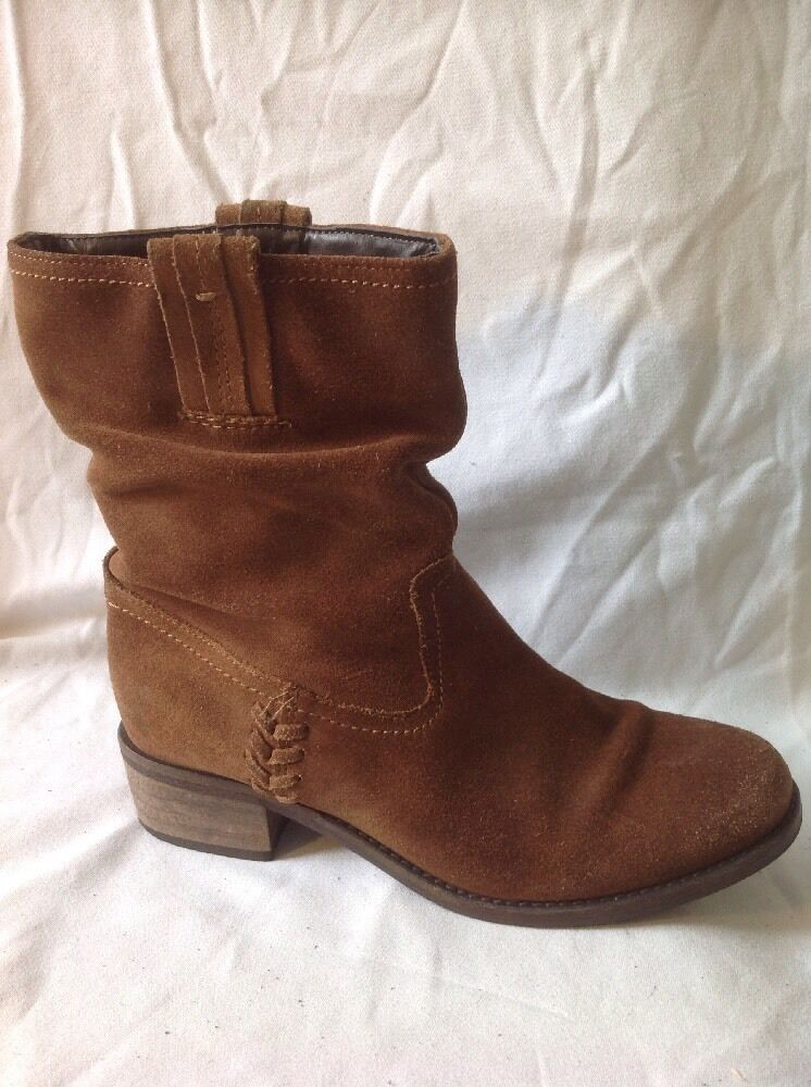 Next Brown Ankle Suede Boots Size 38