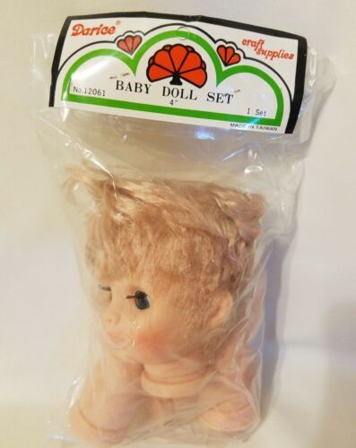 "Arms /& Legs Vintage Darice Craft 4/"" Blonde Plastic Baby Doll Parts Set Head"