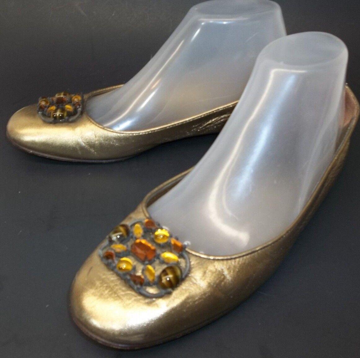 Saks Fifth Avenue Mujer Zapatos ee. UU. 7.5 oro Joyas Joyas Joyas Ballet Italia pisos de vacaciones  perfecto