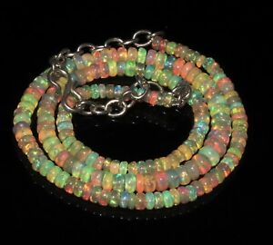 50-Ctw-1Necklace-3to5-mm16-034-Beads-Natural-Genuine-Ethiopian-Welo-Fire-Opal-T1388