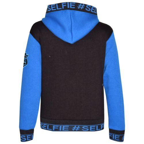 Enfants Garçons Veste #Selfie Brodé Bleu Zippé Haut à Capuche Sweat à capuche 5-13 Ans