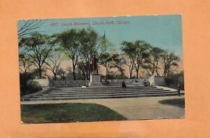LINCOLN-MONUMENT-LINCOLN-PARK-CHICAGO-1913-VINTAGE-POSTCARD