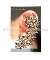 Bold Beautiful Gold Rhinestone Flower Ear Cuff Post Clip On Earring