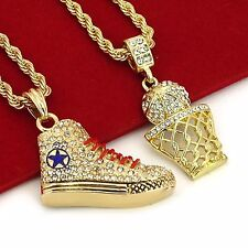"""Gold Plated Hip Hop Iced Out Basketball & Shoe Pendant w/ 4mm 24"""" Rope Chain"""