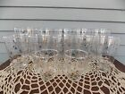 Lot of 12 Vintage Clear Glass with Gold Design Drinking Glasses Tumblers