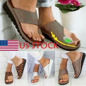 US-STOCK-Women-Comfy-Sandal-Ladies-Shoes-PU-LEATHER-Bunion-Corrector