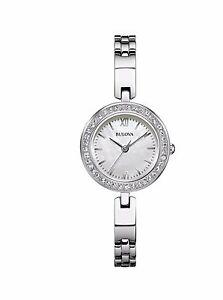 Bulova Women's Quartz Swarovski Crystal Accents Silver-Tone 25mm Watch 98X107