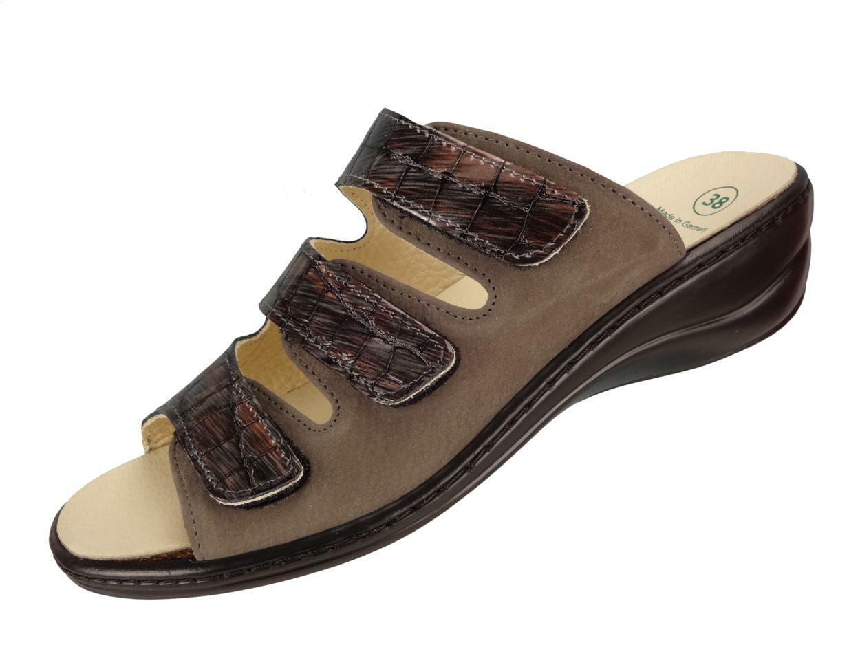 Algemare Damen Pantolette Fußbettsandale mit Absatz und Wechselfußbett 1239_4146