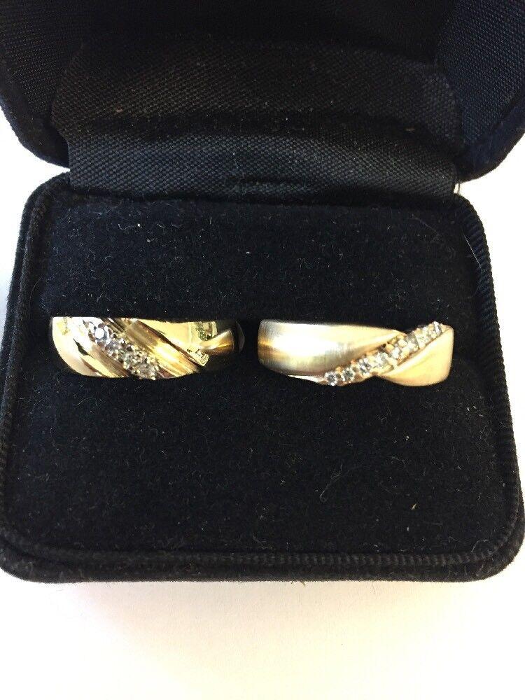 "14 Kt ,yellow gold & Diamond ""men's""Wedding Ring"
