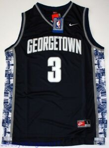 check out 8f34e 424bd Details about NCAA Throwback Basketball Jersey ALLEN IVERSON 3 Georgetown  Hoyas Blue Men NWT