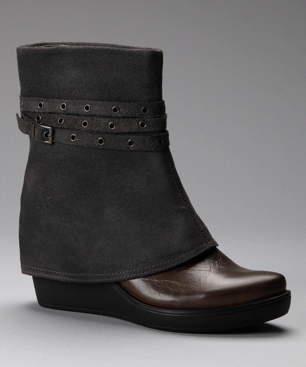 Bota De Cuña Con Cinturón antílope Zapatos gris Gamuza Gamuza Gamuza Cuero tire de al tobillo Botines 37 Nuevo  100% garantía genuina de contador