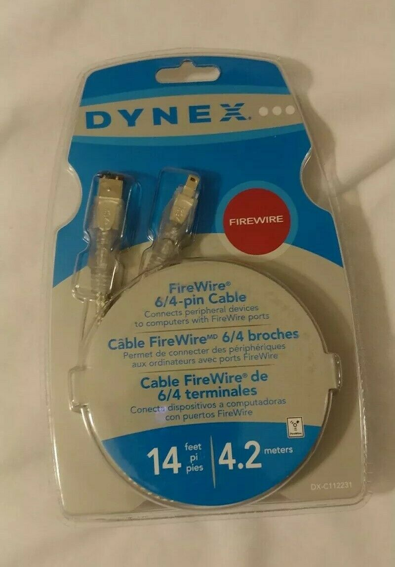 NEW Dynex DX-C112231 FireWire IEEE-1394 6/4-Pin Cable 14ft Computer Networking