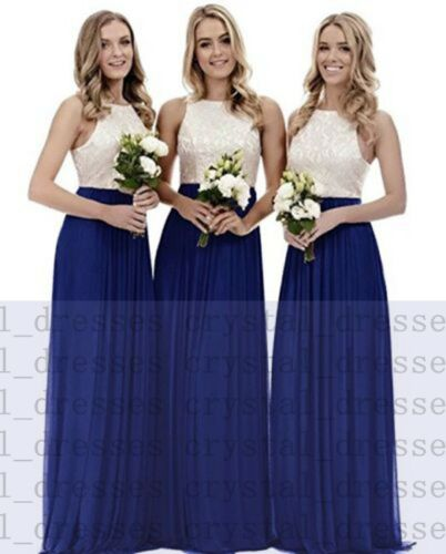 Lace Chiffon Long Bridesmaid Wedding Evening Formal Dresses Party Ball Prom Gown