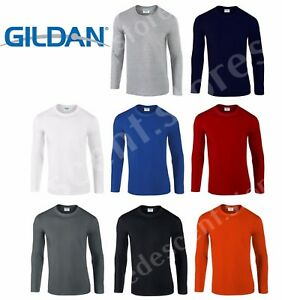 Gildan-MEN-039-S-LONG-SLEEVE-TSHIRT-SOFT-COTTON-PLAIN-TOP-SLEEVES-CASUAL-NEW-S-2XL