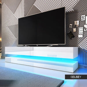 aviator meuble tv suspendu 140 cm led bleue design banc t l vision salon moderne ebay. Black Bedroom Furniture Sets. Home Design Ideas