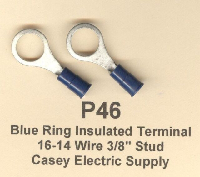 "25 Blue Insulated RING Terminal Connectors #16-14 Wire Gauge AWG 3/8"" Stud USA"