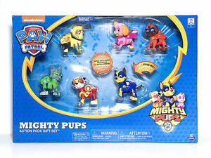 Details about Paw Patrol Mighty Pups Action Pack 6 Pups Gift Set with  Light-up Badges and Paws
