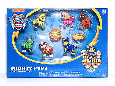 *Paw Patrol* MIGHTY PUPS ACTION PACK 6 FIGURES GIFT SET WITH LIGHT UP BADGES NEW