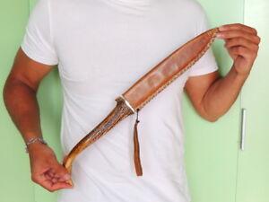 Huge-Vintage-Knife-Dagger-Steel-in-Leather-Case-Elk-Horn-Handle-19-6-inch