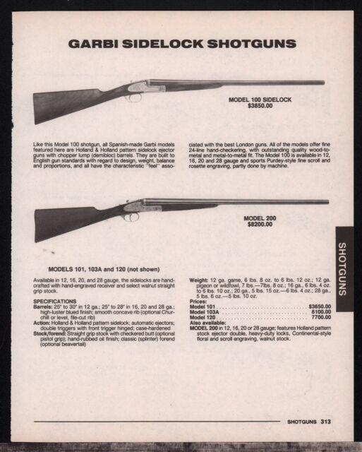 Details about 1992 GARBI Model 100 & 200 Sidelock Shotgun Print AD w/ specs  & prices