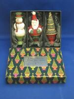 White Barn Candle Co. Topiary Candle Trio Christmas Tree Santa Snowman Figural
