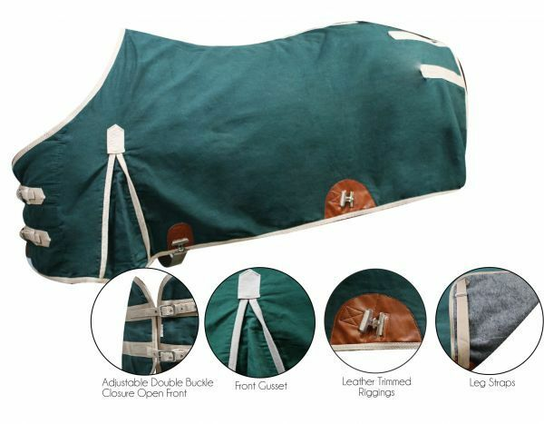 Showman Horse BLANKET Treated CANVAS 16 oz WATER RESISTANT Wool Wool Wool Blend LINED c9ce38