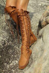 Roma-pour-femme-en-cuir-a-lacets-au-dessus-du-genou-bottes-hautes-Vintage-Mocassins-Chic-D509