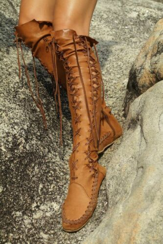 Roma Womens Leather Lace Up Over The Knee High Boots Vintage Moccasins Chic