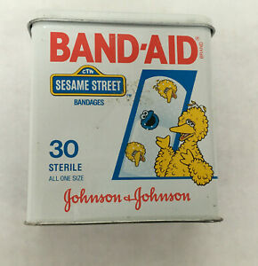 vintage-empty-band-aid-sesame-street-big-bird-metal-tin-Johnson-Johnson