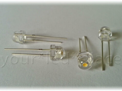 90-120 ° blanco brevemente cabeza plana cabeza ultrahell White 50 x LED 5mm straw ha blanco cálido