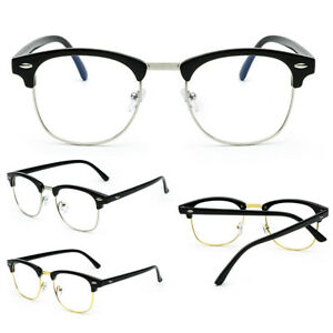 7dd93d8f846 Image is loading NEW-Unisex-Fashion-Vintage-Oval-Clear-Lens-Glasses-