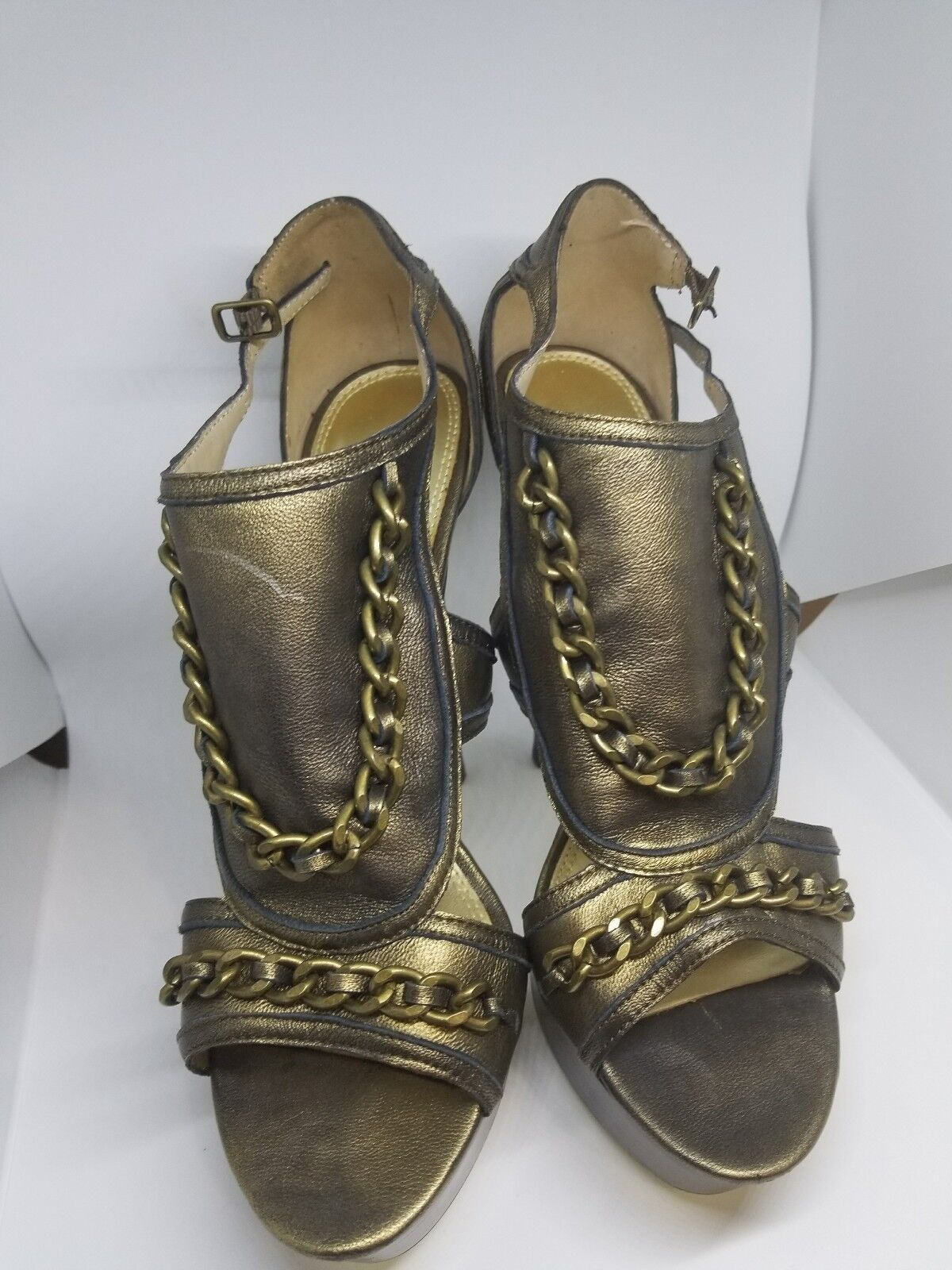 Bebe gold Bronze  Sandals Heels with chain Size 8
