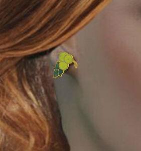 Yellow-Berries-Fruit-Cloisonne-Stud-Pierced-Earrings