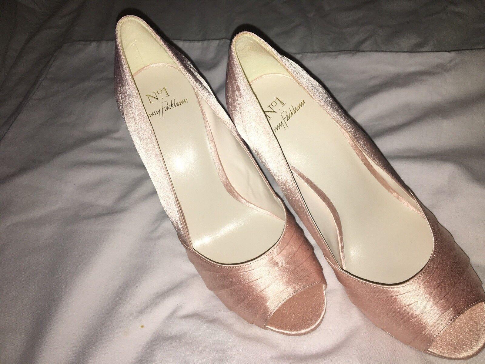 No. 1 Jenny Packham Light pink Satin 'Pandora' Peep Toe Stiletto size 4- NEW