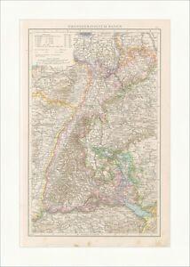 Bodensee Karte Schweiz.Details Zu Grossherzogtum Baden Rheinbund Bodensee Schweiz Grenze Kaiserreich Karte Rah 021