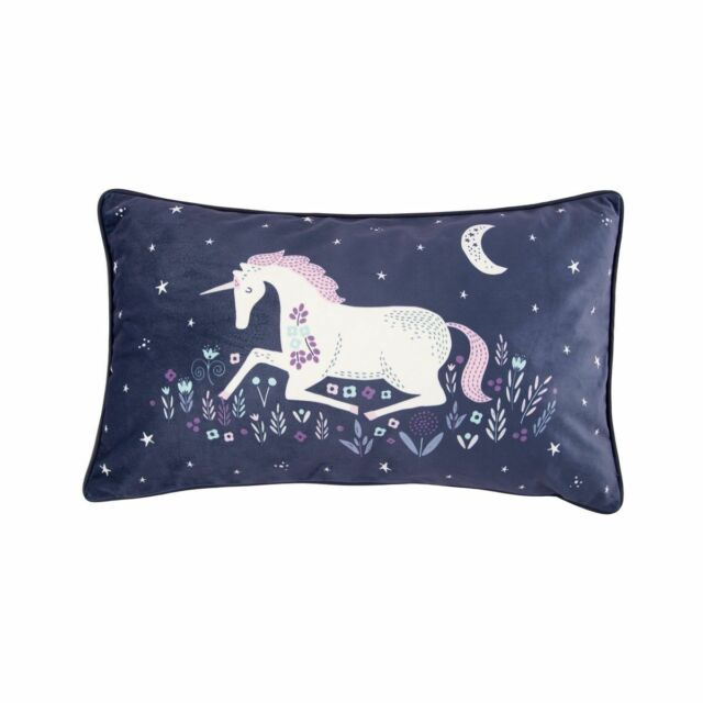 Magical Starlight Unicorn Horse Blue & Lilac Scatter Cushion Sass & Belle