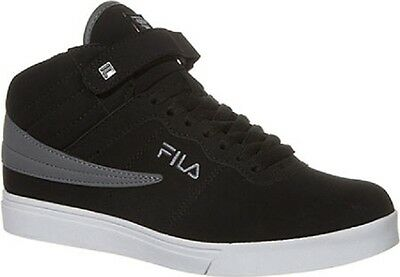 NEW FILA BOYS GIRLS VULC 13 MID PLUS DISTRESS BLACK WHITE HIGH TOP STRAP SNEAKER