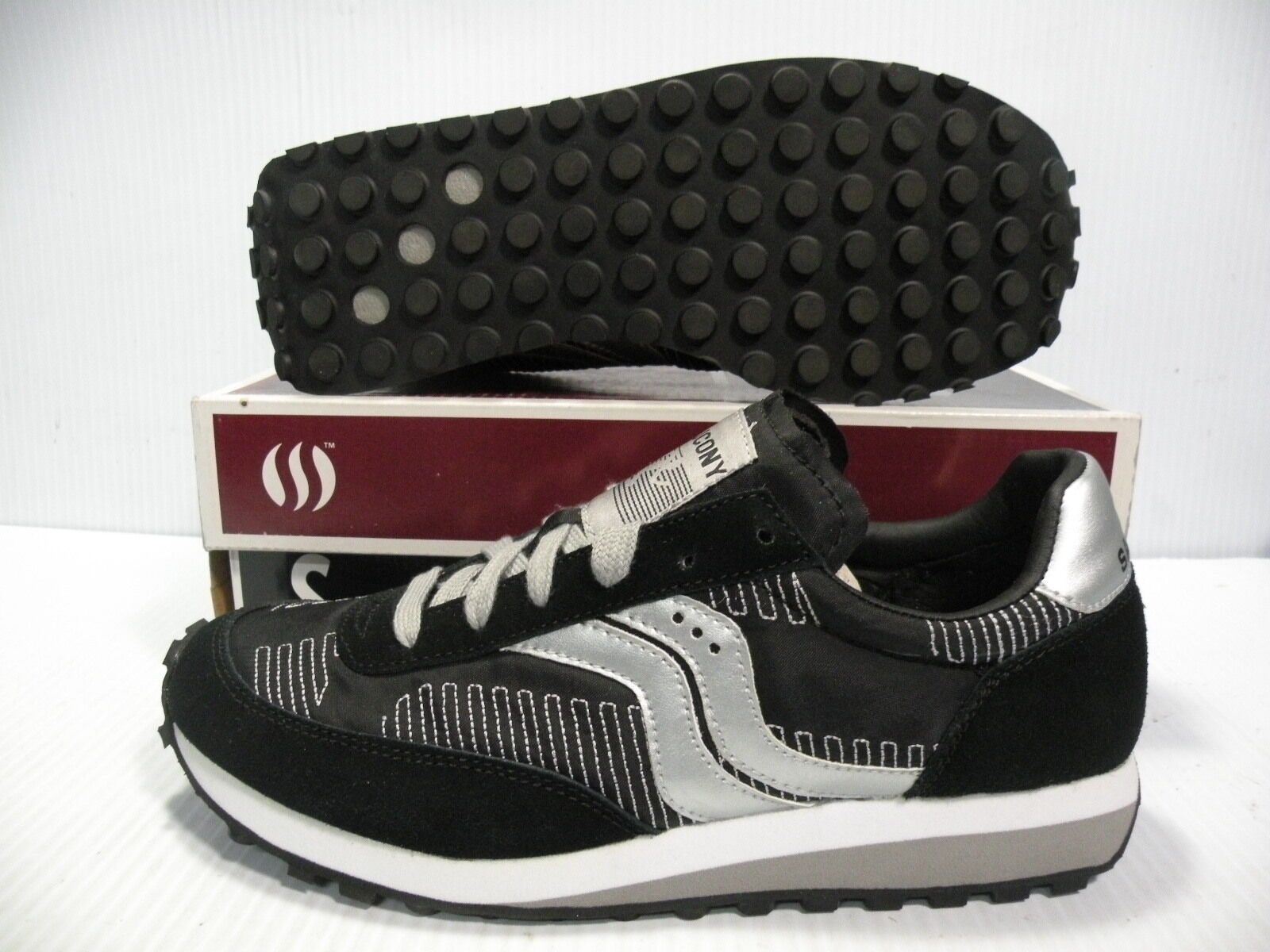 SAUCONY TRAINER LOW SNEAKERS WOMEN Schuhe BLACK/SILVER 2937-9 SIZE 6.5 NEU