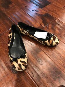 Prada-Tan-amp-Brown-Leopard-Print-Calf-Hair-Ballet-Shoes-Size-6-5-US-37-IT