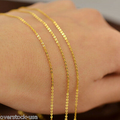 J.Lee 16INCH 18K Yellow Gold Necklace 0.8mm Classic O Link Chain Necklace