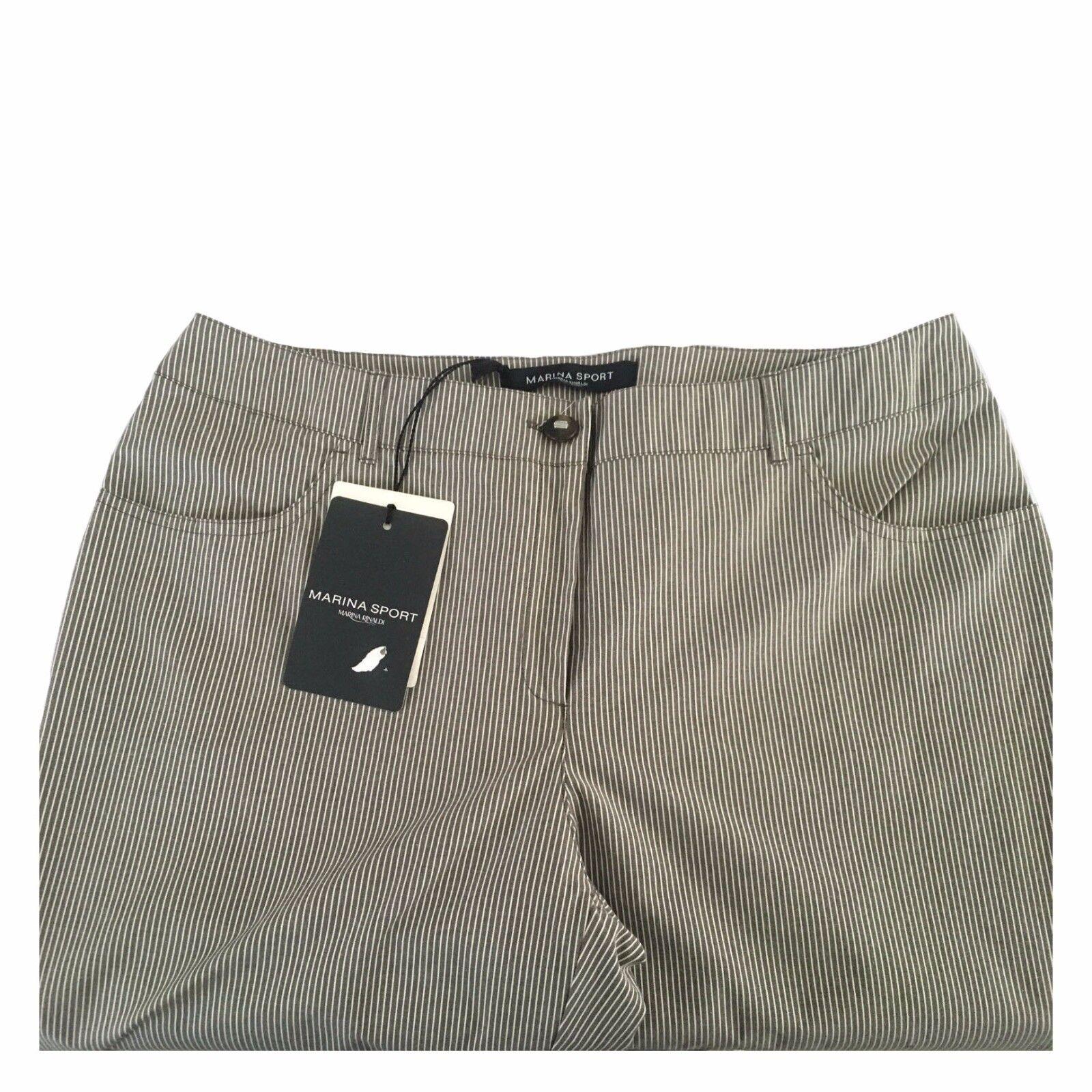 MARINA SPORT by Marina Rinaldi pantalone pantalone pantalone donna righe grigio avorio fondo cm 18 d87f08