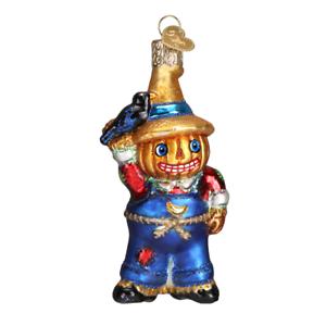 Old-World-Christmas-PUNKIN-039-SCARECROW-26076-X-Glass-Ornament-w-OWC-Box