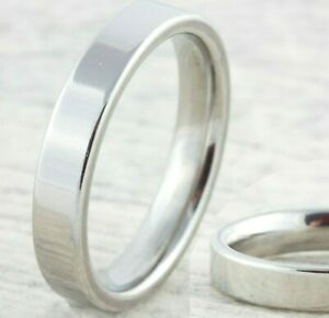 4mm-Stainless-Steel-Mens-Womens-Silver-Wedding-Band-New-Unisex-Comfort-Fit-Ring