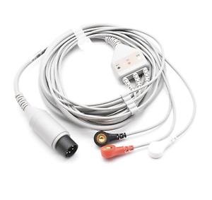 Invivo ECG Cable 6 Pin 3 Leads Snap AHA - Same Day Shipping
